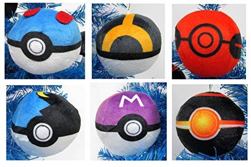 Pokemon 6 Piece Plush 2  Poke Ball Ornament Set Featuring Master Ball  Luxury Ball  Great Ball  Moon Ball   More