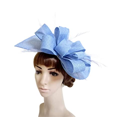 Aclth Cappello per capelli da donna giorno Fascinator cappello da donna  Feather Clip su accessori per 66fcc2754298