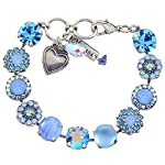 """Mariana """"Periwinkle Large Flower Design Tennis Bracelet, Silver Plated with Blue Crystal, 8"""" 4084 1343"""