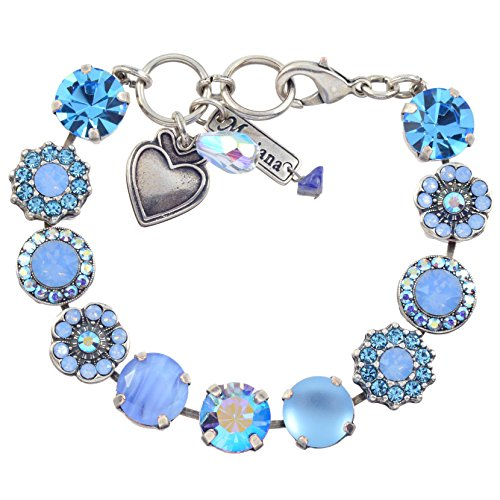 Mariana Periwinkle Large Flower Design Tennis Bracelet, Silver Plated with Blue Crystal, 8 4084 1343