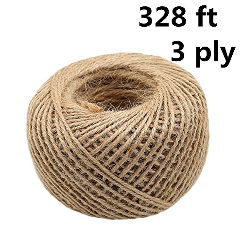 3ply Jute Twine, 328 ft Heavy Duty Natural Twine String for Artworks, DIY Crafts, Gift Wrapping, Christmas Wedding Garden Decorate (Natural Color)