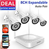[2019 New] Wireless Security Camera System,SAFEVANT 1080P 8 Channel Video Security System(1TB Hard Drive),4pcs 960P(1.3 Megapixel) Indoor/Outdoor Wireless IP Cameras,65ft Night Vision,P2P,Free APP