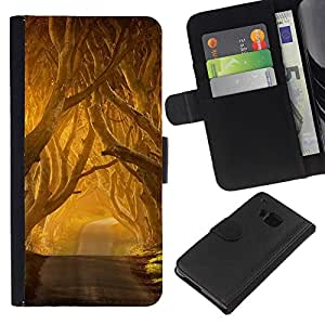 KingStore / Leather Etui en cuir / HTC One M9 / Summer Sun Freedom Road Nature