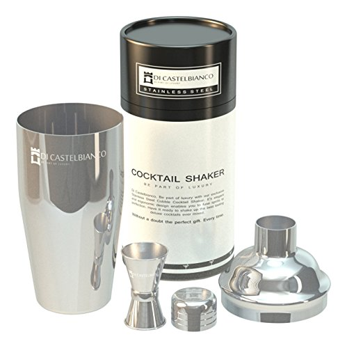 BarBrand Cocktail Shaker by Bar Brand co. Professional Bar set - 24 oz. Drink Mixer, Built in Strainer and Free Jigger. Premium Drink Shaker Gift.