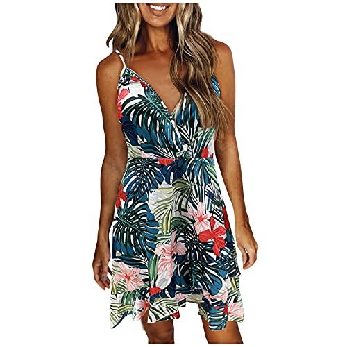 Keepfit Summer Dress for Women, V Neck Boho Floral Swing Dress Sleeveless Spaghetti Strap Beach Dress Irregular Ruffle Hem Army Green