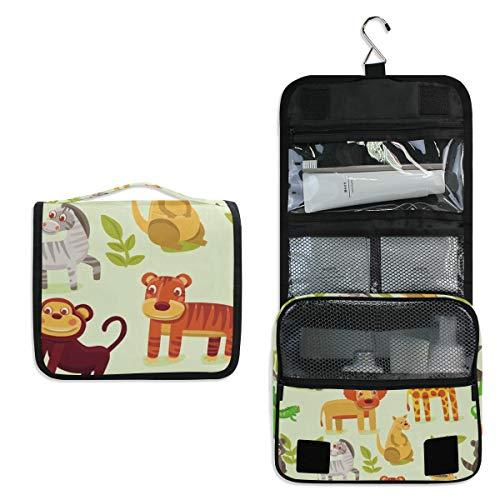 (Animais Zoo Large Capacity Hanging Toiletry Bag for Men & Women, Portable Waterproof Bathroom Shower Bag, Lightweight Dopp kit Shaving Bag, Sturdy Metal Hook Organizer Makeup Bag )