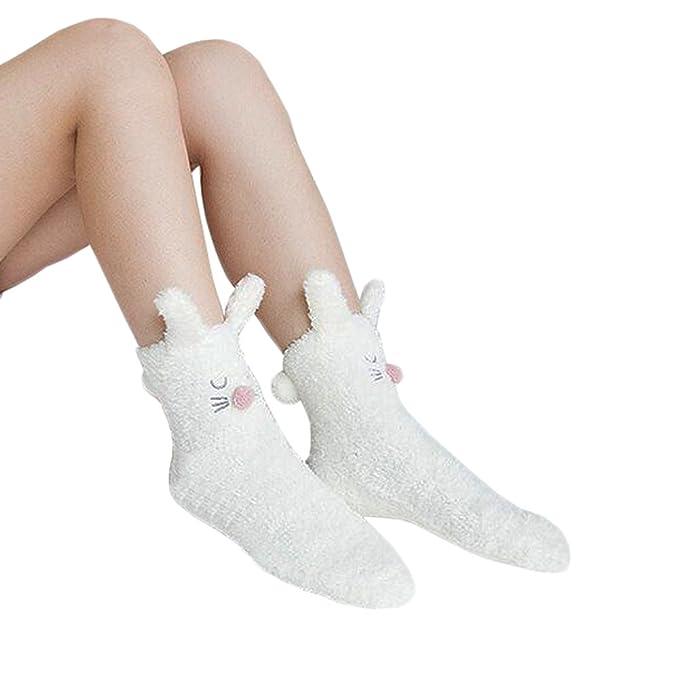 Fuzzy suave Dormir piso calcetines de la historieta del deslizador ...