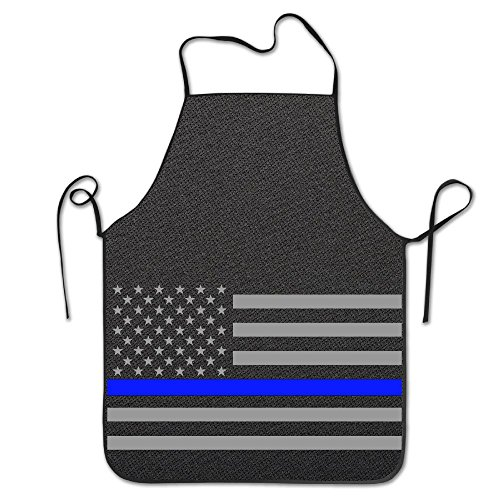 Aip-Yep Thin Blue Line American Flag Custom Comfortable Bistro No Pocket Bib Apron For Women's Black
