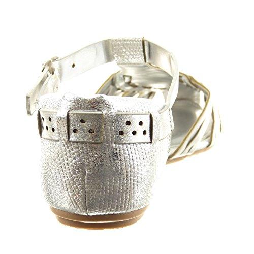 Sopily - damen Mode Schuhe Sandalen Römersandalen T-Spange String Tanga glänzende - Silber