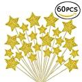 Laviee 60 PCS Cupcake Toppers Gold Star Cake Toppers for Wedding Birthday Baby Shower Party Decoration