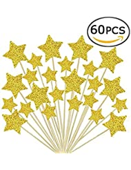 Laviee 60 PCS Cupcake Toppers Gold Star Cake Toppers for Wedding Birthday Baby Shower Party Valentine's Day Decoration