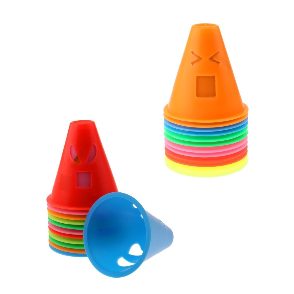 MagiDeal 24 Pieces Funny Expressions Design Inline Roller Skating Skateboard Cones Pile Cup Slalom