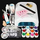 CITY 88psc DIY Acrylic Nail Art Brush Clipper Glue Top Coat Kit Set