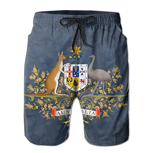 Qinf New Cartoon Fashion Coat Of Arms Of Australia Summer Beach Pants Casual Shorts For Man by Qinf (Image #1)