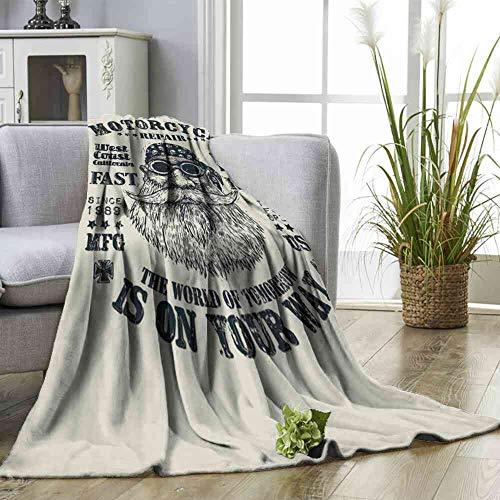 (Big datastore Blanket Retro Design Motorcycle Repair Fast Ride for Poster or t Shirt Print with Bearded Biker in Baby Girl Blanket)