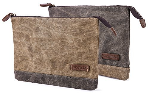 Gootium Waxed Canvas Zipper Pouch - Water Resistant Storage Holder Accessories Organizer (Pack of 2)