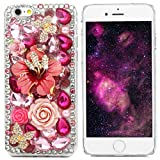 iPhone 6 Case, iPhone 6S Case, Mavis's Diary 3D Handmade Crystal Butterfly Flowers Rhinestone Diamond with Clear Hard Case Cover for iPhone 6 6S 4.7' with Cleaning Cloth - Pink Flower Double Butterfly