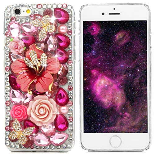 iPhone 6 Case, iPhone 6S Case, Mavis's Diary 3D Handmade Crystal Butterfly Flowers Rhinestone Diamond with Clear Hard Case Cover for iPhone 6 6S 4.7