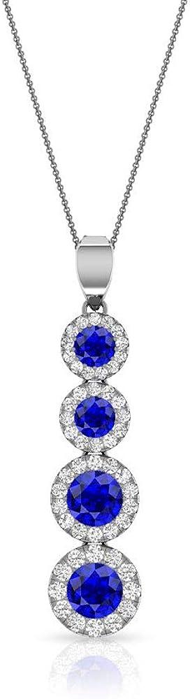 Colgante de halo de moissanita de 1,30 quilates con zafiro difuso certificado IDCL, colgante de gota de piedra preciosa azul, collar largo de cadena, colgante de aniversario de boda nupcial