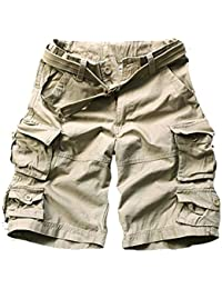 Women's Cotton Loose Fit Multi-Pockets Camouflage Casual Twill Bermuda Cargo Shorts with Belt