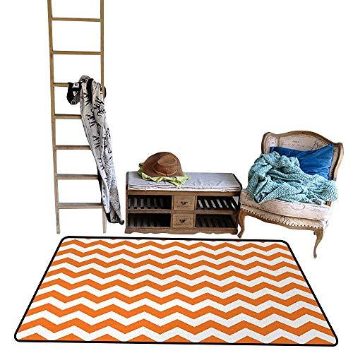 Chevron, Bath Mats Carpet, Halloween Pumpkin Color Chevron Traditional Holidays Autumn Season Celebrate, Anti-Skid Rugs, W56 x L64 Inch, Orange White