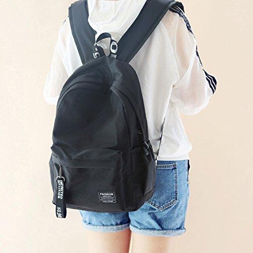 Mochila bolsa de estudiantes mujeres moda mochila bolsa de hombres tendencia de ocio Rosa black