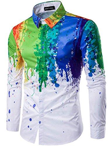 Whatlees Mens Geek Psychedelic Splash-ink Printed Slim Fit Long Sleeve Dress Shirts, T402, Asian L(US S)