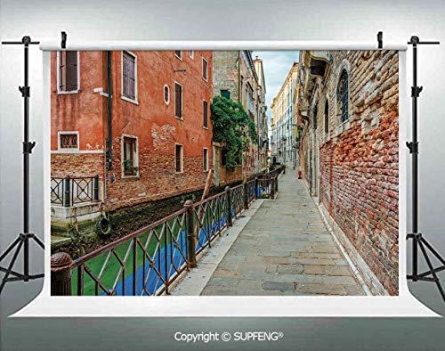 (Photography Backdrops Empty Idyllic Streets of Venezia Travel Destination Romantic Vacation Old Buildings 3D Backdrops for Photography Backdrop Photo Background Studio Prop)