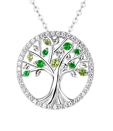 Fine Sterling Silver The Tree Of Life Circle Pendant Necklace Peridot And Diopside Jewelry Family Gifts For Her Birthday Women, 18″+2″ Chain