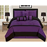 7 Pieces Luxury Embroidery Queen Purple Black Comforter Set Bed-in-a-bag (Oversize) Bedding- Hs 16