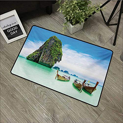 - Moses Whitehead Fabric Door Mat Rug Island,Limestone Rock in The Sea with Boats Tranquil Heaven Coast with Horizon Off Nature Photo,Multi,for Daily Use-Stylish Floor Mat 30