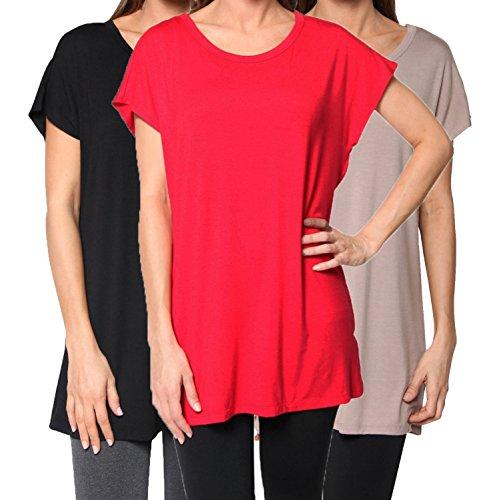 Free to Live Men's Kimono Tops, Black/Mocha/Red, L (Pack Of (Mens Tunic Shirts)