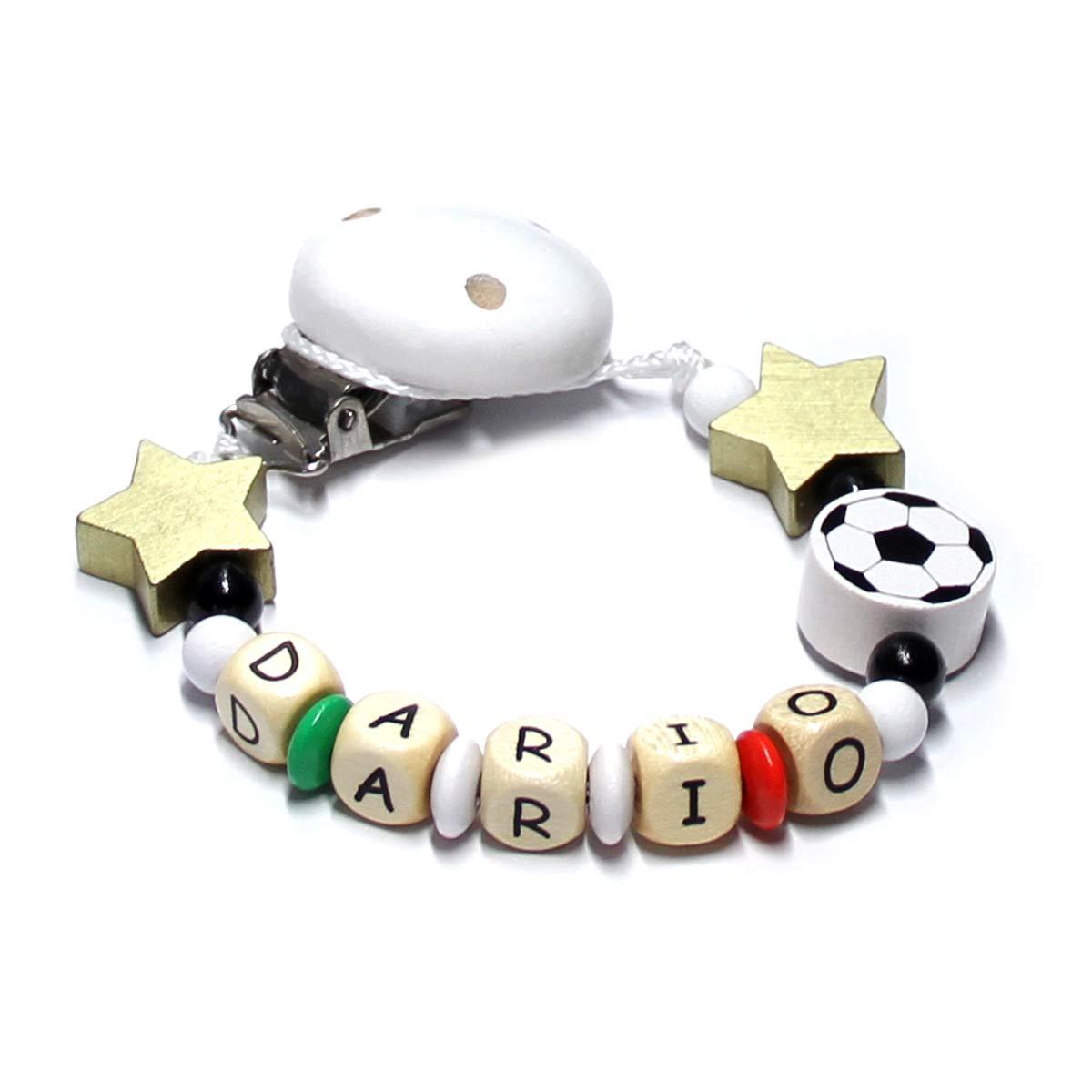 Cadena para chupete de bebé con perlas de madera y nombre ...