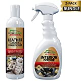 KevianClean Leather Cleaner & Conditioner 16 oz and Interior Defense 24 oz (2-Pack Bundle Kit) - Complete Leather, Vinyl, Plastic, Trim and Dashboard Care