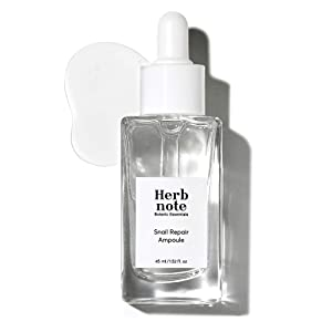HERBNOTE Snail Repair Ampoule 45ml (1.52 fl.oz.) - 85% Snail Mucus Filtrate Contains Moisturizing & Pore Tightening Facial Ampoule, pH5.2 Hypoallergenic Soothing Formula, Paraben Free