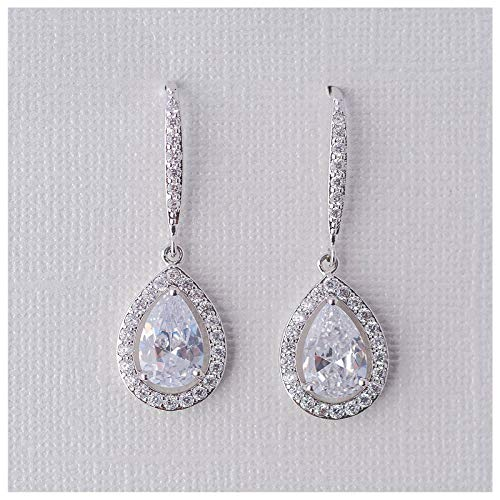 - SWEETV Teardrop Wedding Earrings for Brides, Bridesmaids, Cubic Zirconia Dangle Earrings for Prom, Party, Formal Occasion,Silver