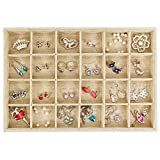 Valdler Sackcloth Stackable Removable Grid Jewelry Tray Showcase Display Organizer