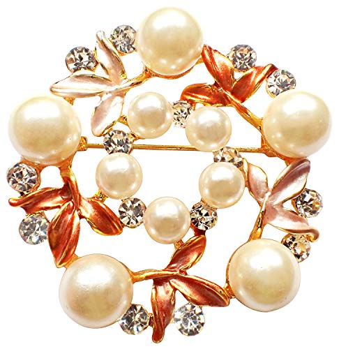(Bijoux De Ja Gold Tone Enamel Rhinestone Faux Pearl Wreath Woman Brooch Pin (Orange))