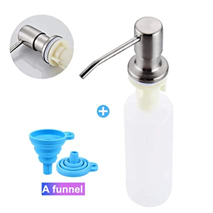 Soap Dispenser for Kitchen Sink (Brushed Nickel),Built in Design Sink Soap  Dispenser,Refill from the Top,Stainless Steel Kitchen Soap Pump with 10 ...