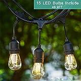 Outdoor String Light Kit, Tomshine 49.9Ft LED Waterproof Heavy Duty Commercial String Lights,30W E27 Base Garden Lights For Patio, Homes, Backyard,Wedding,Cafe(15 Sockets,Include 15 LED E27 Bulbs)