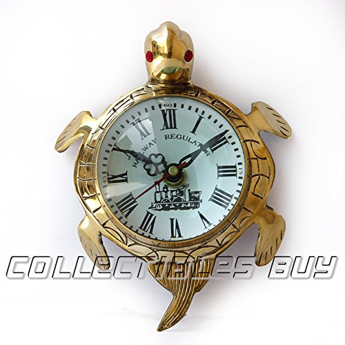 Collectibles Buy Wall Turtle, Marine Wall Clock, Nautical Brass Roman Watch, Christmas Gifts, Antique Gift Ideas, Vintage Article Office And Home Decorative Item (Marines Clock Collectible)