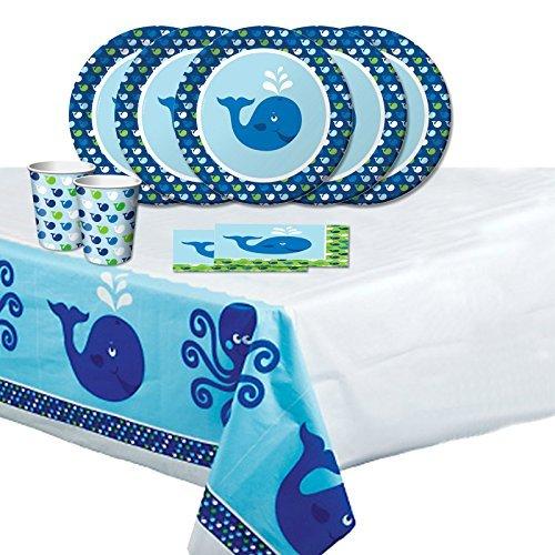 Ocean Preppy Whale Childrens Birthday Party Tableware Pack for (Kids Birthday Party Tableware)