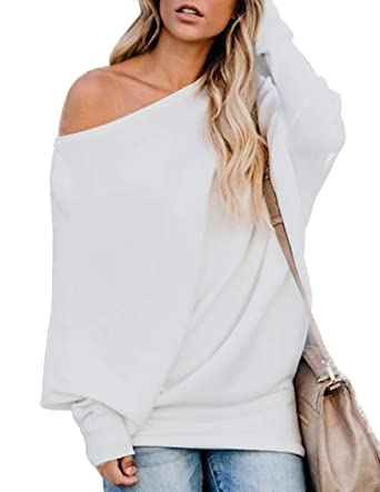Women Off Shoulder Sweater Batwing Long Sleeve Pullover Sweater Knit Jumper  Tops Loose Fit Shirt White at Amazon Women s Clothing store  c129d66e8