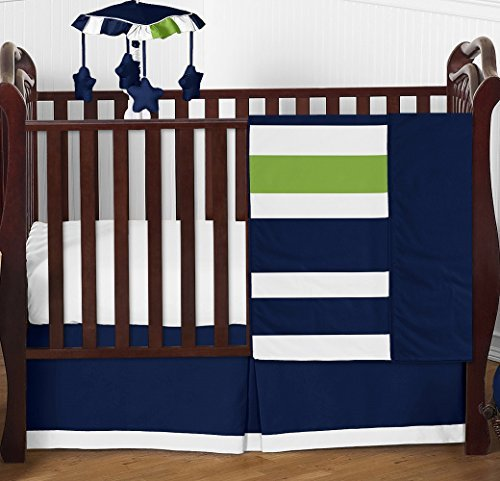 Lime 4 Piece Crib - Navy Blue and Lime Green Stripe Baby Boy Bedding 4 Piece Crib Set Without Bumper