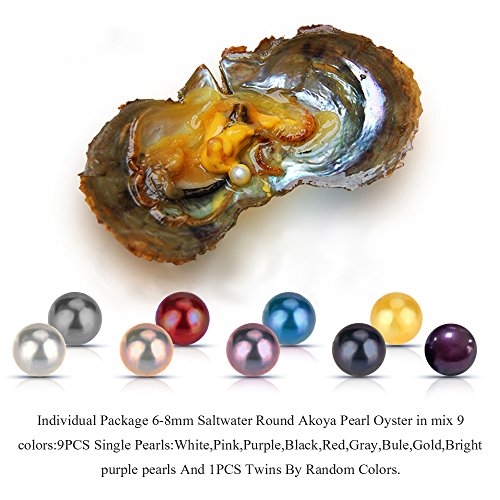 100PCS of Mixed 9 Colors Individual Packed 6-8mm Saltwater Round Akoya Cultured Pearl Oyster by NY Jewelry (Image #4)