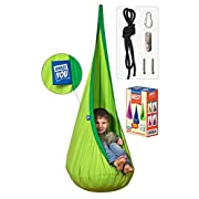 Amazeyou Kids Swing Hammock Pod Chair - Child's Rope Hanging Sensory Seat Nest for Indoor and Outdoor Use With Inflatable Pillow - Great for Children, All Accessories Included (Nook Green)