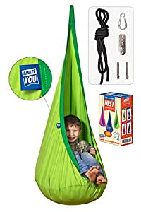 Amazeyou Kids Swing Hammock Pod Chair - Child's Rope Hanging Sensory Seat Nest for Indoor and Outdoor Use With Inflatable Pillow - Great for Children , All Accessories Included (Nook Green)