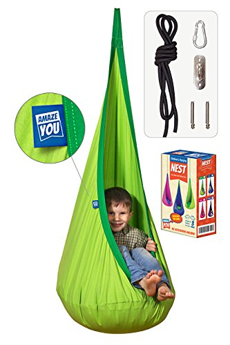 AMAZEYOU Kids Swing Hammock Pod Chair - Child's Rope Hanging Sensory Seat Nest Indoor Outdoor Use Inflatable Pillow - Great Children, All Accessories Included (Green)