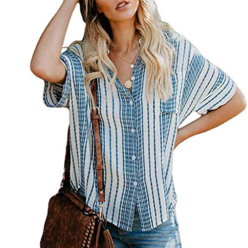 COPPEN Women Blouse Loose Button Plus Size Long Shirt Dress Cotton Tops Summer T-Shirt 2019 (XL, Blue - 1970s Button
