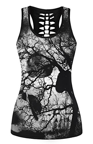 FISACE Women's Skull Print Hollow Out T-shirt Crew Neck Sleeveless Plus Size Tank Top – Small, Grey 01